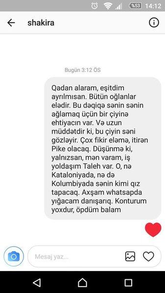 """Azərbaycanda hamı Şakiraya göndərilən bu mesajdan danışır: """"Qadan alaram, axşam yığacam"""""""